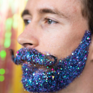 Handsome male with glitter in his beard