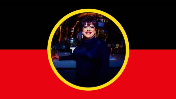 Graphic design replicating the aboriginal flag with a photo of a drag queen in the centre